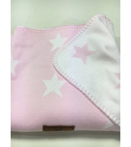 BABY CRIB BLANKET STAR BABY PINK/WHITE