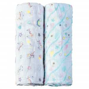 SET 2 PZ. BABY SWADDLE UNICORNI I COCCOLOSI