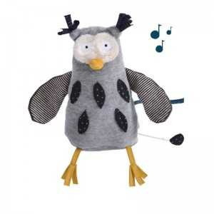 PUPAZZO MUSICALE GUFO LES MOUSTACHES MOULIN ROTY